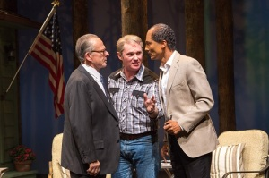 (L to R) Ron Rifkin as Menachem Begin, Richard Thomas as Jimmy Carter and Khaled Nabawy as Anwar Sadat in Camp David at Arena Stage at the Mead Center for American Theater March 21-May 4, 2014. Photo by Teresa Wood.