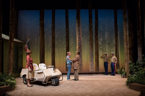 Hallie Foote as Rosalynn Carter, Richard Thomas as Jimmy Carter and Khaled Nabawy as Anwar Sadat with Will Beckstrom and Will Hayes in Camp David at Arena Stage at the Mead Center for American Theater March 21-May 4, 2014. Photo by Teresa Wood.