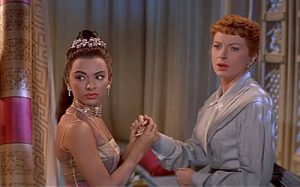 Rita Moreno as Tuptim, and Deborah Kerr as Anna Leonowens in the 1956, 20th Century Fox film of The King and I