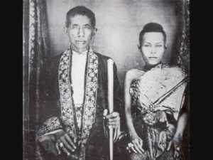 King Mongkut of Siam and one of his thirty-nine wives